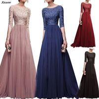 Women Long Elegant Lace Chiffon Party Dresses Bridesmaid Noble Plus Size S 3XL Floor Length Formal Long Dress 7 colors Xnxee
