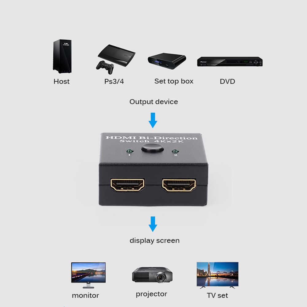 HD التوصيل HDMI التبديل ثنائي الاتجاه مقسم الوصلات البينية متعددة الوسائط وعالية الوضوح (HDMI) 2 المدخلات 1 إخراج يدعم 4 K 2 K 3D 1080 P HD و ل Xbox PS4 PS3 بلو راي لاعب