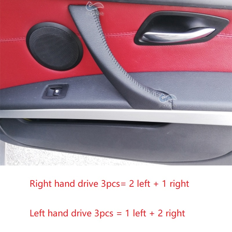 3PCS RHD / LHD Hand Sewing Microfiber Leather Right Left Door Handle Pull Cover Trim For BMW 3 Series E90 E91 320 325 330 318