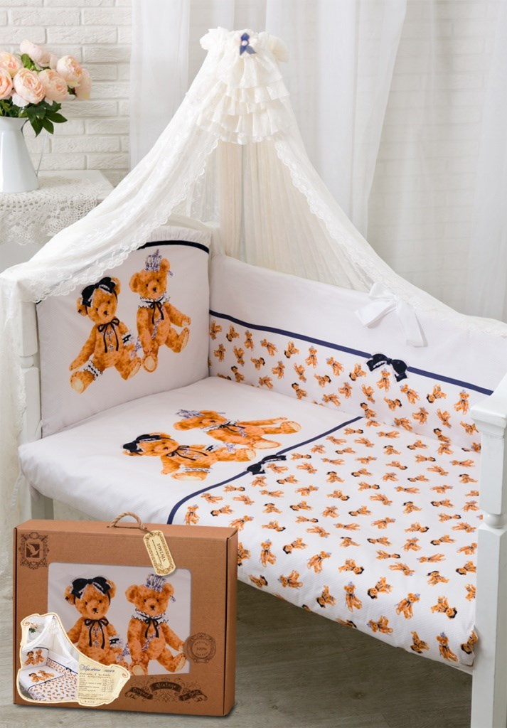 173 Set in the cot Royal bears Satin (1731 white)