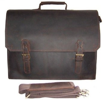 Vintage Crazy horse Leather Briefcase Men business bag Men Leather laptop Briefcase Tote Handbag shoulder bag 14