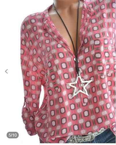 Русская модная леди 5XL Плюс Размер Топы женские рубашки Весна Лето Блузки повседневные свободные плед печати длинный рукав шифон рубашка белая блузка