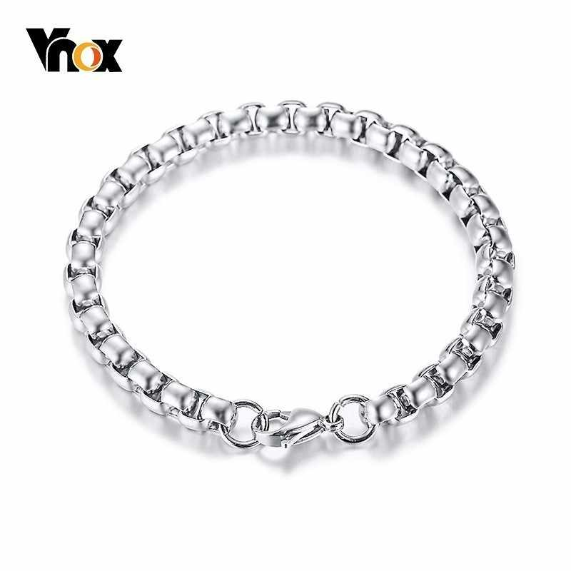 Vnox 7mm Square Rolo Box Chain Bracelets for Men Stainless Steel pulseira masculina 8.46 inch