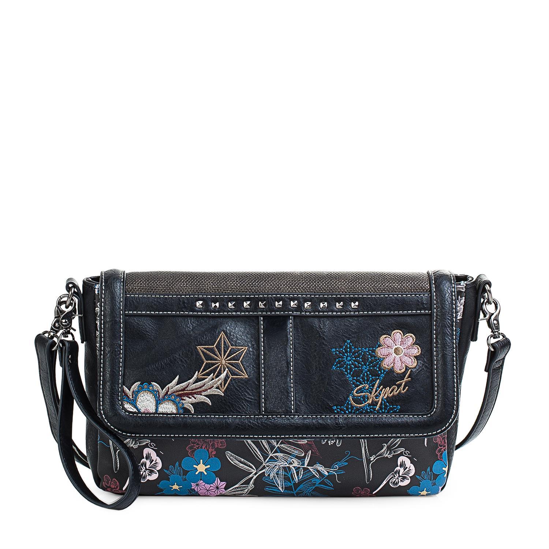 Colección Pierre Bolso Bandolera De Mujer Con Asa de hombro ajustable, exterior en lona Lona bordado flores ,Color Negro 95561 4