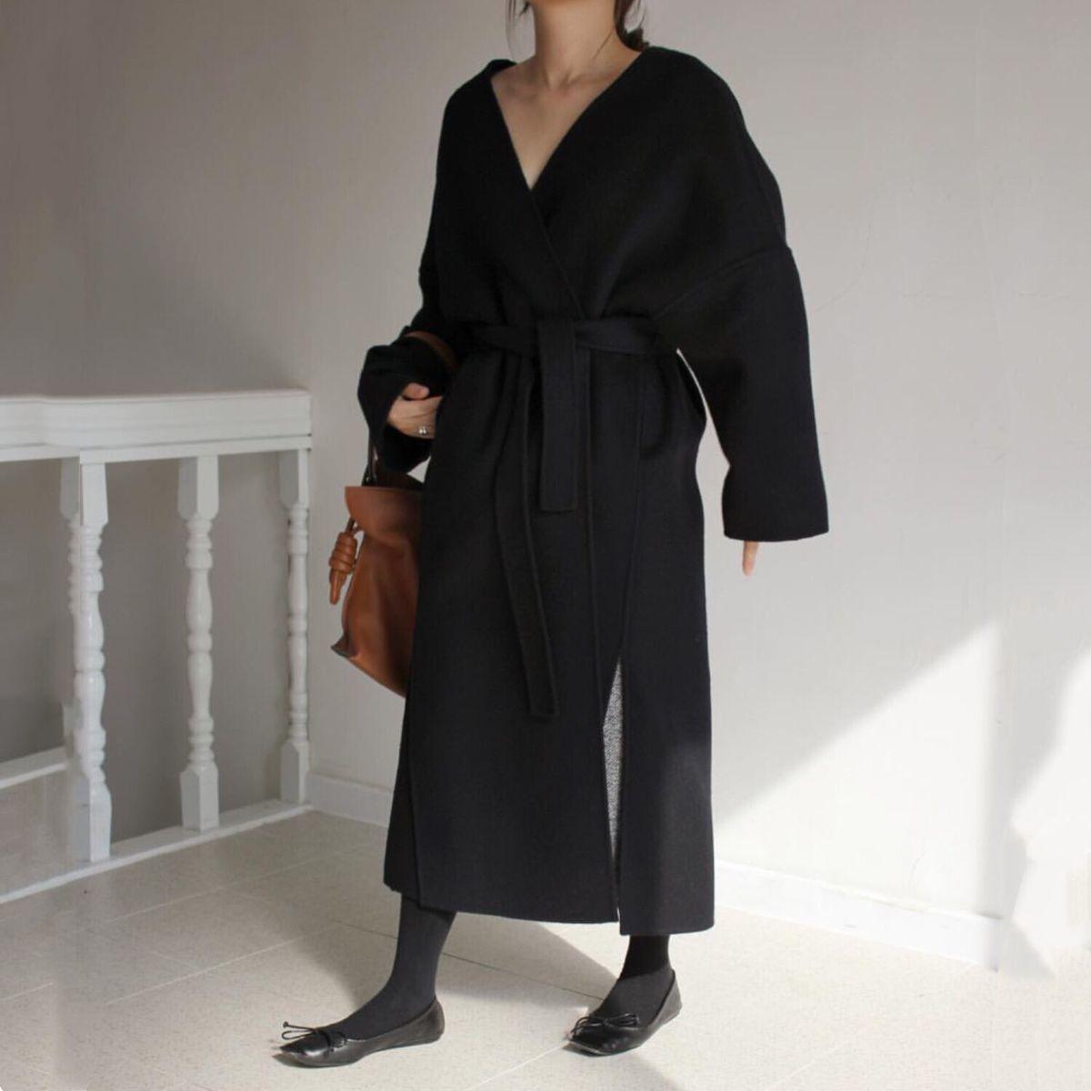 SHENGPALAE 2019 Black New Spring Windbreakers V Collar Long Sleeve Personality Waist Tie Korean Fashion Women