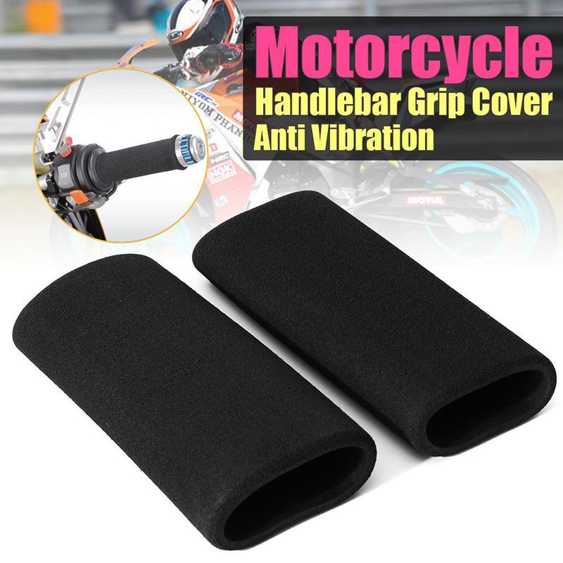 2x Motorbike Handlebar Grip Cover Motorcycle Slip-on Foam Anti Non-slip Vibration Comfort Black Hand Grip Cove