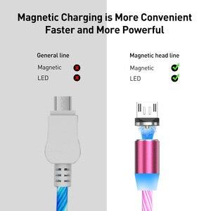 Image 5 - USLION المغناطيسي LED ضوء كابل شحن سريع المغناطيس مايكرو USB نوع C كابل LED سلك الحبل نوع C شاحن آيفون سامسونج S10