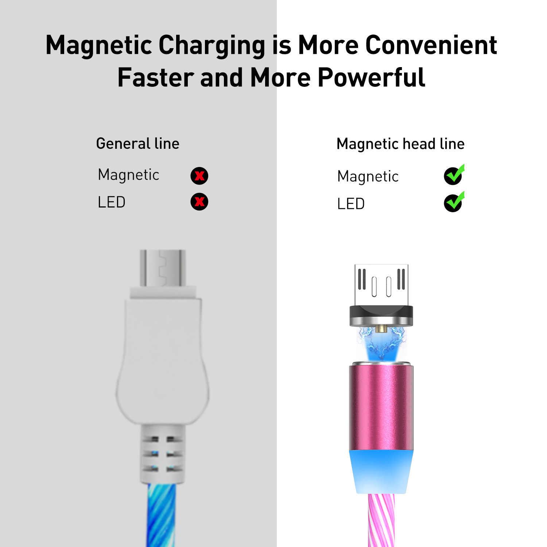 USLION Magnetische LED Licht Kabel Schnelle Lade Magnet Micro USB Typ C Kabel LED Draht Kabel Typ-C Ladegerät für Iphone Samsung S10