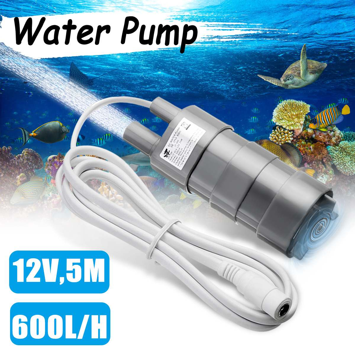 WOLIKE DC 12V Water Pump Brushless Magnetic Submersible Garden Fish Pond 5M 600L/H Micro Submersible Motor Water Pump