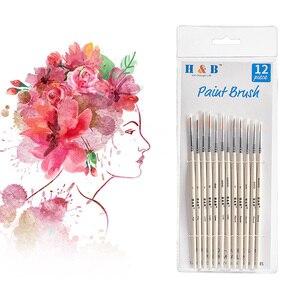 Image 2 - Pincéis diminutos ajustados da escova da pintura do cabelo de náilon do detalhe para a pintura fina acrílica/aquarela/óleo da arte