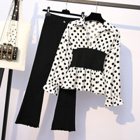 Women long sleeve blouse shirt & black pants 2 piece clothing set OL outfit lady wave point flares trousers vestidos XL 4XL size