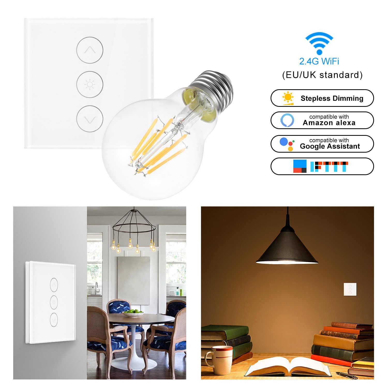 Умный Свет Диммер в настенный сенсорный контроль WiFi выключатель света работает с Alexa Google Assistant IFTTT с лампочка с реостатом
