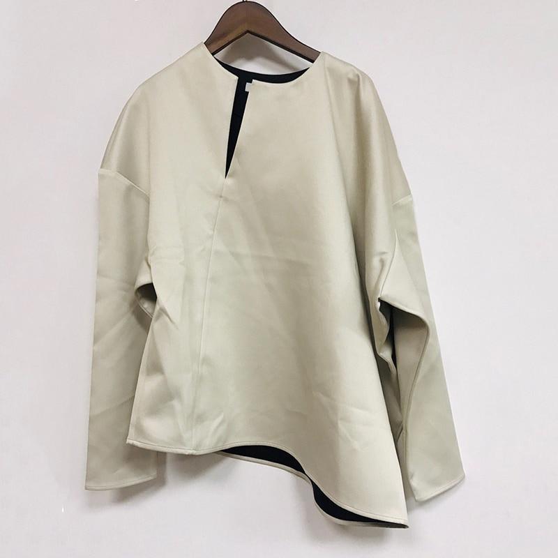 [EAM] 2019 New Autumn Winter Round Neck Long Sleeve Loose Vent Split Joint Brief Big Size Shirt Women Blouse Fashion Tide JQ552