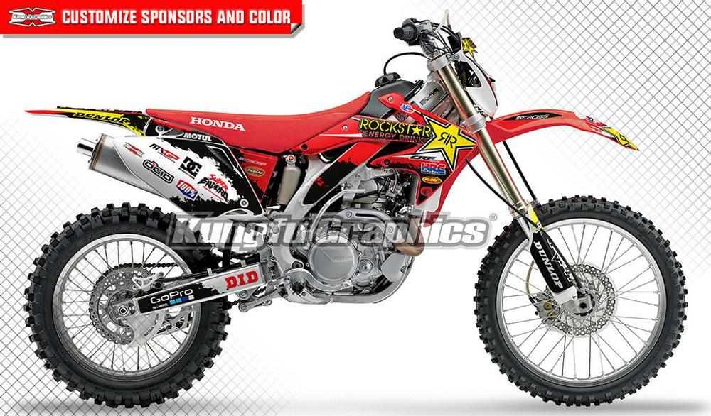 KUNGFU GRAPHICS Dirt Bike Stickers Fit Honda CRF450X CRF 450X 2005 2006 2007 2008 2009 2010