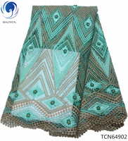 BEAUTIFICAL african lace green lace fabric beaded lace fabric green african fabric embroidery design for women TCN649