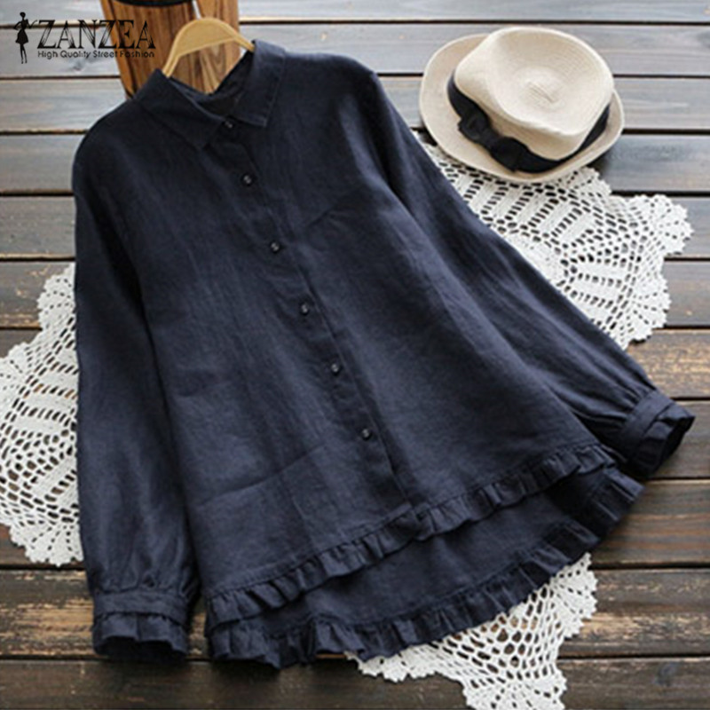ZANZEA 2019 Elegant WomenLapel Neck Long Sleeve  Ruffles Shirt Solid Buttons Down Cotton Linen Blouse Casual Top Party Blusas