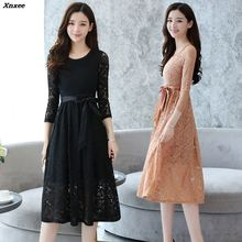 Summer Fashion New 2018 Hollow Out Elegant Black Lace Party Dress High Quality Women Long Sleeve Casual Dresses Xnxee