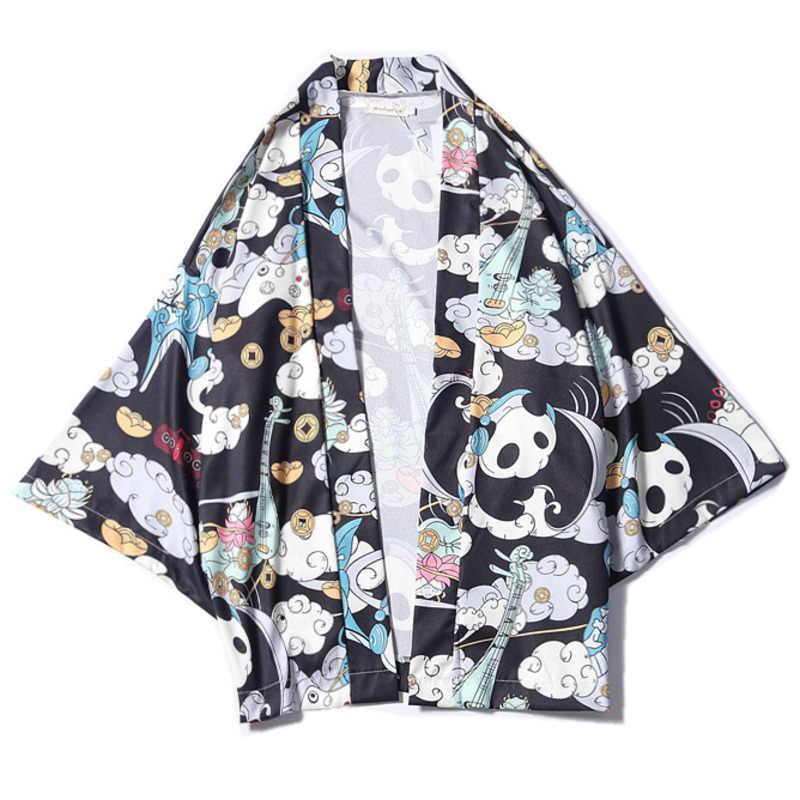 일본 기모노 셔츠 바지 세트 중국어 팬더 인쇄 망 캐주얼 정장 camisa beachwear streetwear 하와이 블라우스 반바지 세트