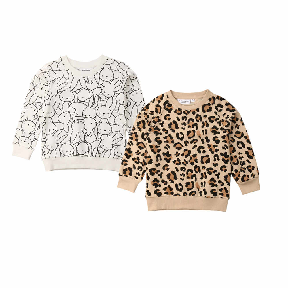 2019 Canis Spring Easter Kids Baby Girl Boy Bunny Long Sleeves Leopard Print T-shirt Sweatshirts Jacket Coat Autumn Clothing