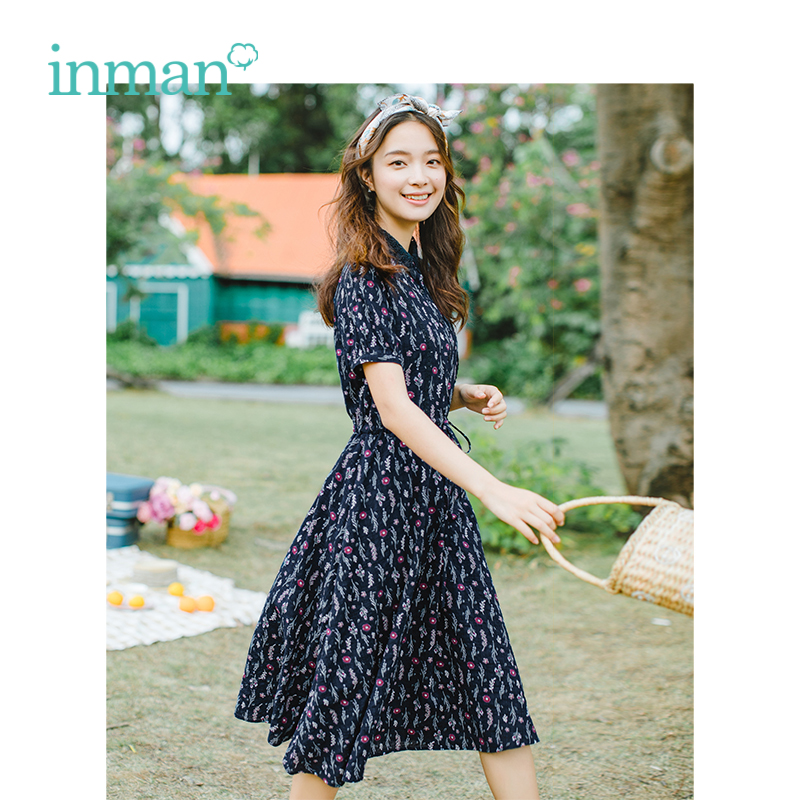 INMAN Summer Turn Down Collar Retro Literary Floral Pastoral Defined Waist Slim A-line Women Dress