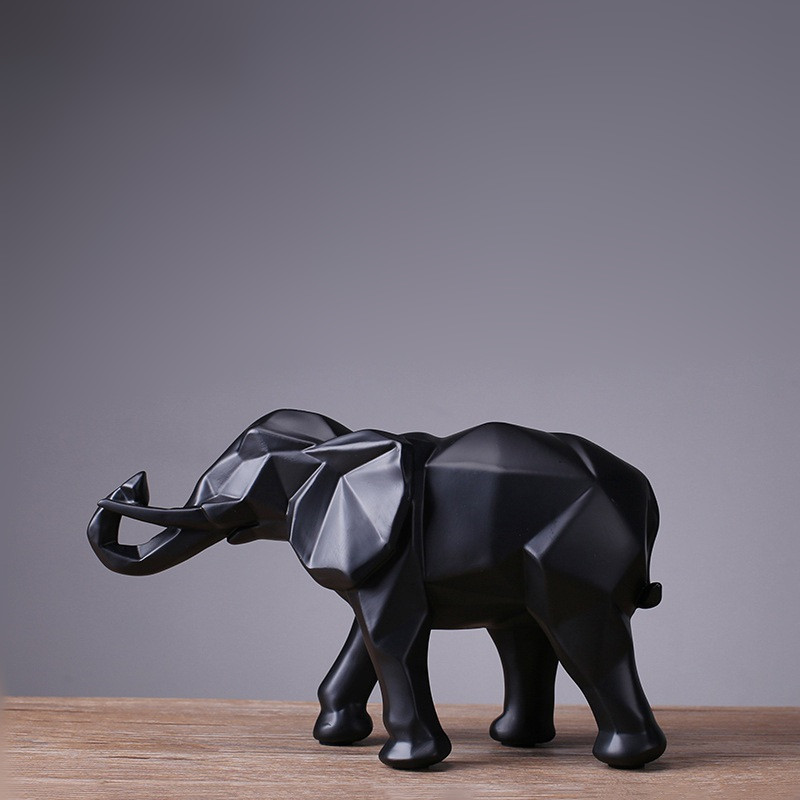 2018 Limited Mrzoot Modern Abstract Black Elephant Statue Resin Ornaments Home Decoration Accessories Gift Geometric Sculpture