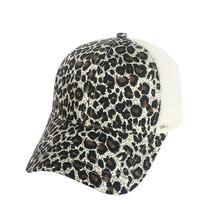 MISSKY Leopardo de cola de caballo de las mujeres gorra de béisbol de las  mujeres sombrero a0424509dd3