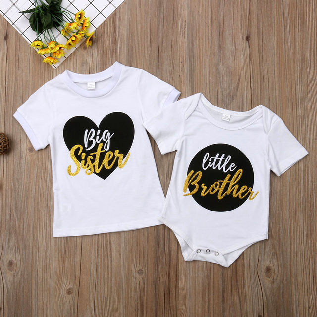 Big Sister Little Brother Matching Outfits Clothes Set