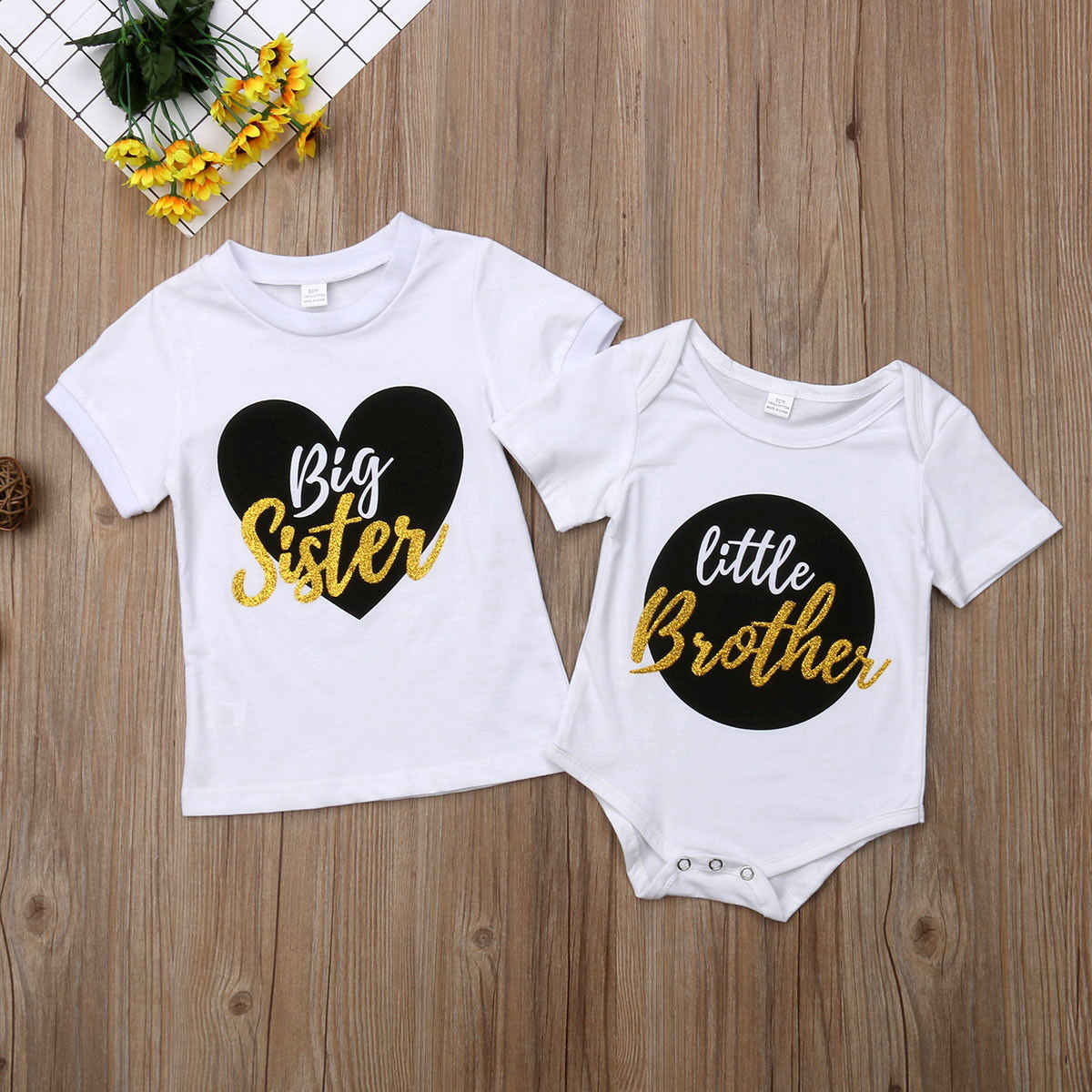 eee4f8cd6877 ... Big Sister Little Brother Matching Outfits Baby Boy Bodysuits Girl T  shirt Kids Top Tee Clothes ...