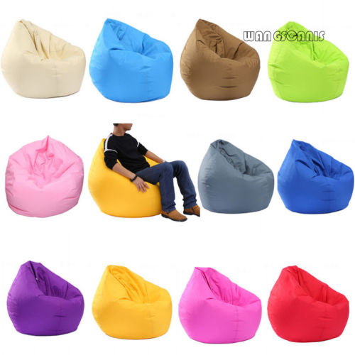 Pudcoco Waterproof Stuffed Animal Storage Bean Bag Oxford Chair Cover Zipper Beanbag Toys Soft Solid Causal Baby Seats Sofa
