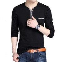 100% Cotton T Shirt Men 2019 Spring Autumn Long Sleeve Button V Neck T Shirt Men Collar Tee Shirt Male Fashion Casual Tops Black