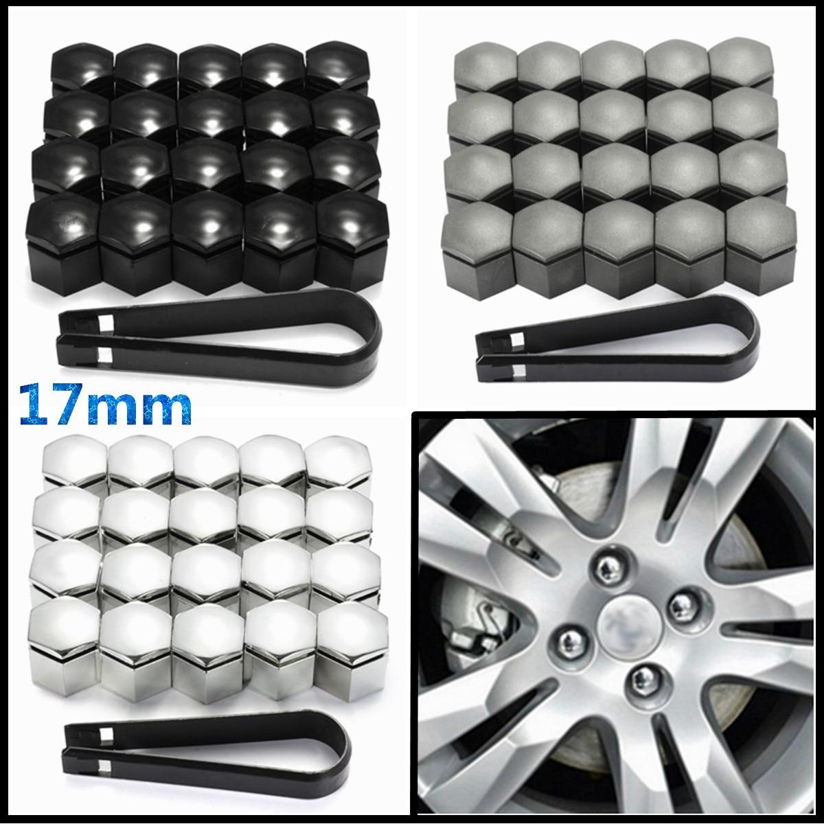 20x Alloy Wheel Nut Caps Bolt Covers Black for SEAT CAR RENAULT 17mm Car Van Bus