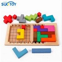 Kid's Soft Montessori Katamino Wooden Building Blocks Tetris Toy Set high quality cubes IQ gift for children