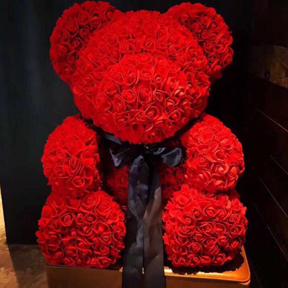Mascot Rose Flower Soap Bear 25cm Plush Toy Scented Bath Soap Romantic Lovers Valentines Day Birthday Gift Wedding Present Cleansers