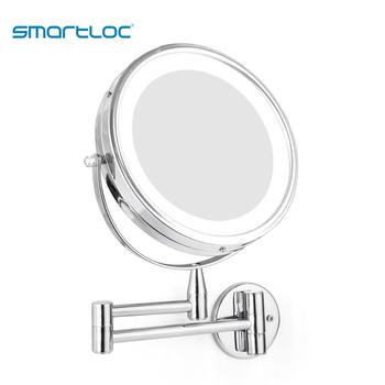 smartloc Extendable LED 8 inch 5X Magnifying Bathroom Wall Mounted Mirror Mural Light Vanity Makeup Bath Cosmetic Smart Mirrors 2
