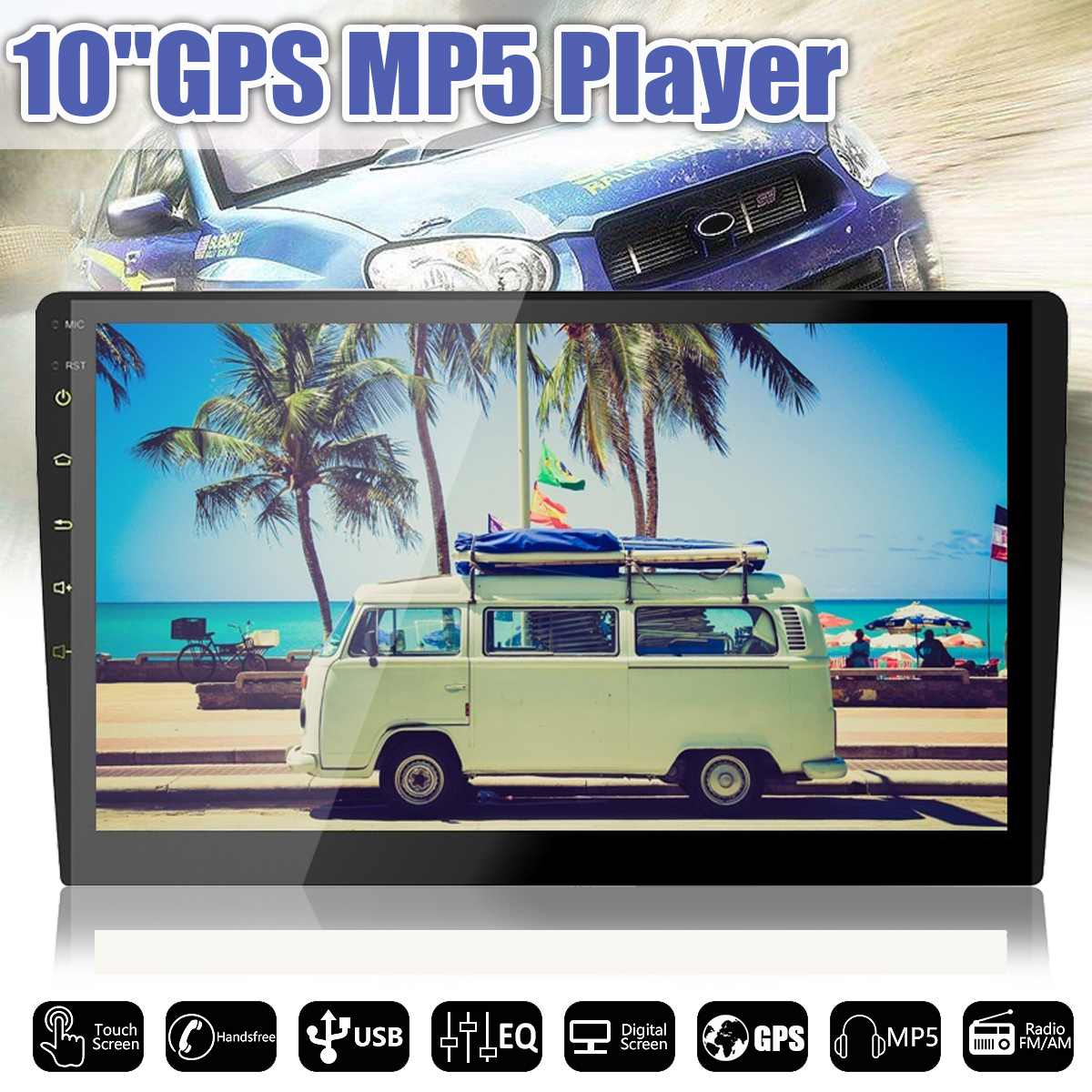 "10"" 2 DIN Android Car Radio DVD Multimedia Player WIFI bluetooth 4G TFT Screen Video AM/FM Audio Stereo GPS Navigation"