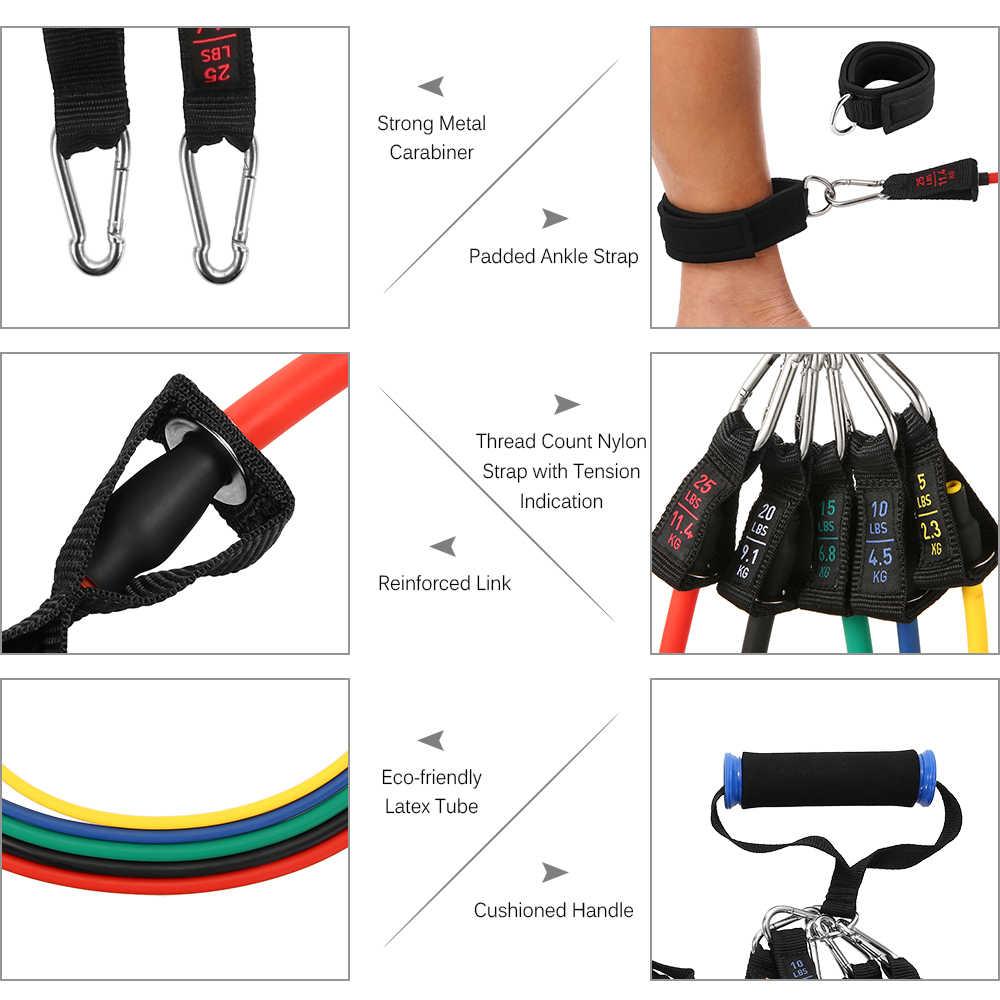 TOMSHOO 17 sztuk zestaw zespoły oporu zestaw treningu fitness sprzęt gumy do ćwiczeń pętli rury zaczep na drzwi kostki pasy domu narzędzia