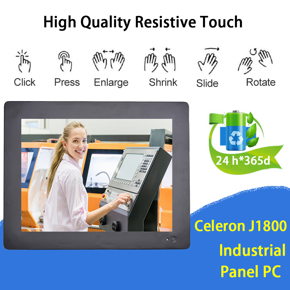 12.1 Inch Industrial Touch Panel PC,Taiwan 5 Wires Resistive Touch Screen,Wins 7/10,Linux,Intel J1800,[HUNSN DA12W]