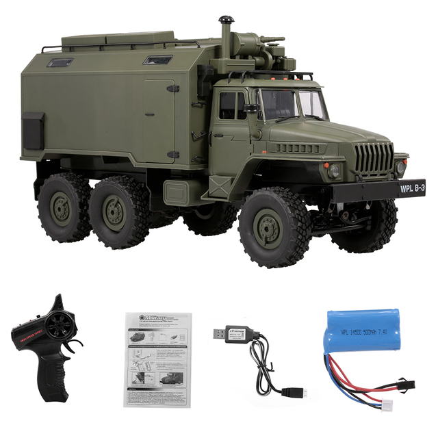 WPL B-36 1:16 RC Car Military Command Vehicle 2.4G 6WD Army Car Children Gift Kids Toy for Boys RTR 2