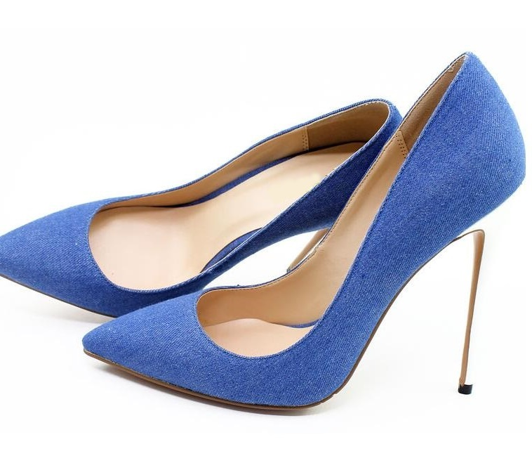 Heißer Verkauf Blau Schwarz Denim Spitz Frauen Schuhe High Heels Weiß Heels Slip on Damen Hochzeit Kleid Schuhe braut Plus Größe