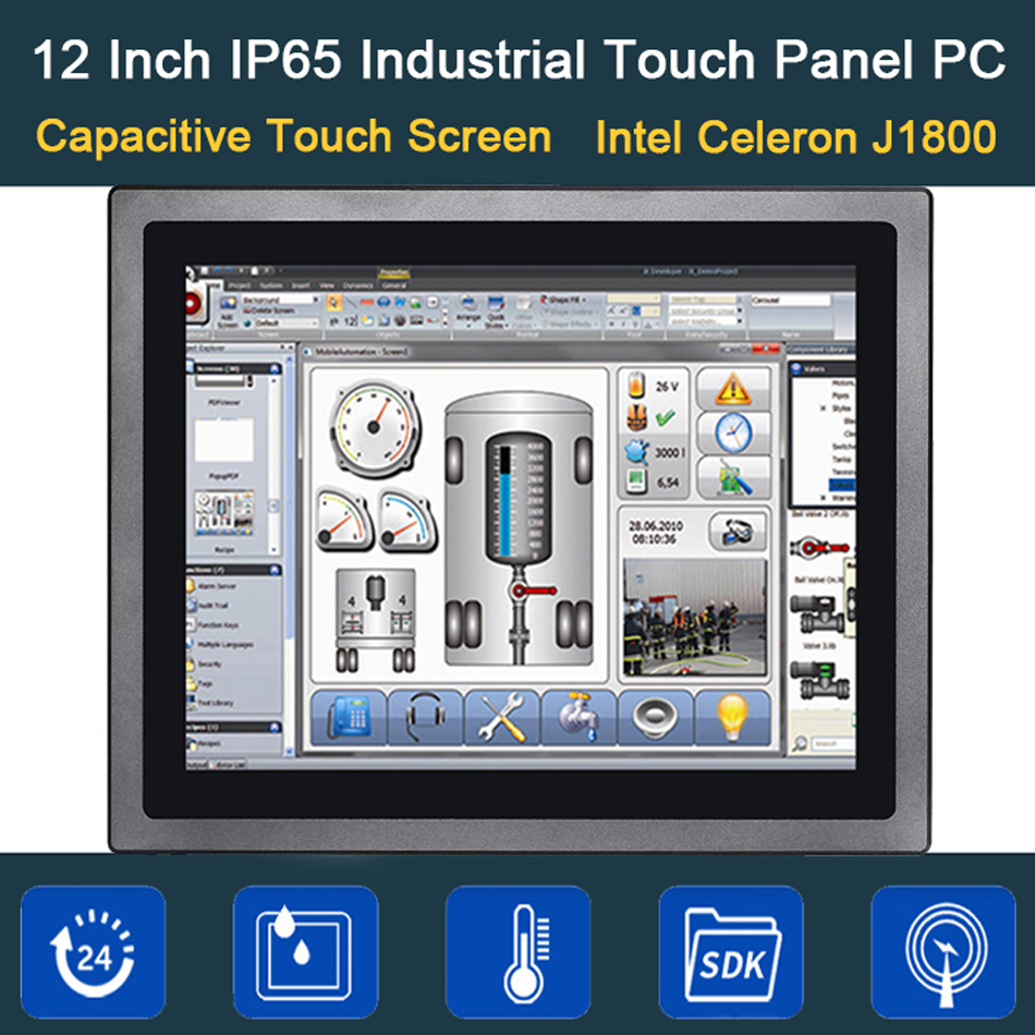 12 Inch IP65 Industrial Touch Panel PC,10 Points Capacitive TS,All In One Computer,Windows 7/10,Linux,Intel 3855U,[HUNSN DA14W]