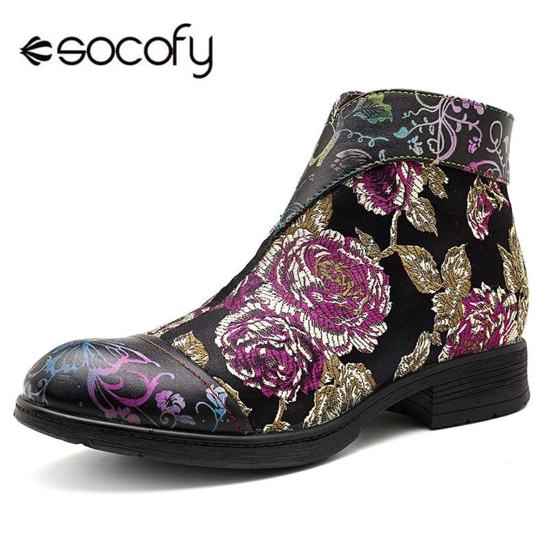 Cuero Socofy Zapatos Negro Genuino Invierno Mujer Las De Mujeres Cremallera  Retro Bajo Grueso Impreso Casual Botas ... 425338b950f7a