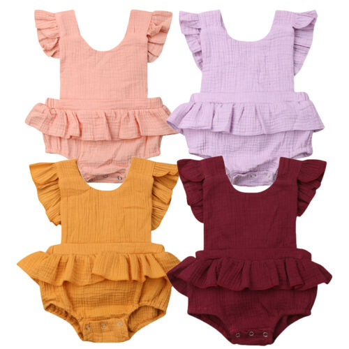 Newborn Baby Girl Clothes Blackless Ruffle   Romper   Sleeveless Jumpsuit Sunsuit Outfit Cotton Clothes