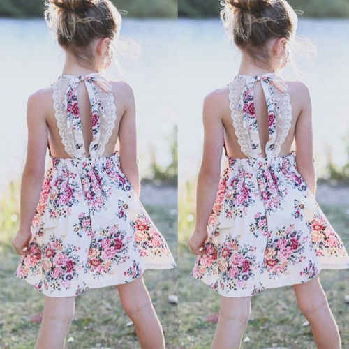 39af5e5246c9f Summer Floral Dress Toddler Baby Kid Girl Princess Casual Floral Strap  Dress Children Holiday Beach Sundress Clothes