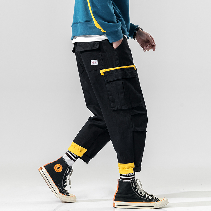 Sweatpants Streetwear Hip-Hop Black Color Haren New-Fashion Spring Leisure-Time-Nine-Part