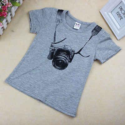 뜨거운 1 pcs 아기 소년 키즈 t-셔츠 카메라 인쇄 탑 세트 o-목 sportwear 복장 귀여운 패션 블라우스 캐주얼 여름 옷