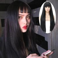 New Women's Silky Long Straight High Quality Black Wig Heat Resistant Synthetic Wig 22/24/26 Inches Beauty Hair Wig For Women