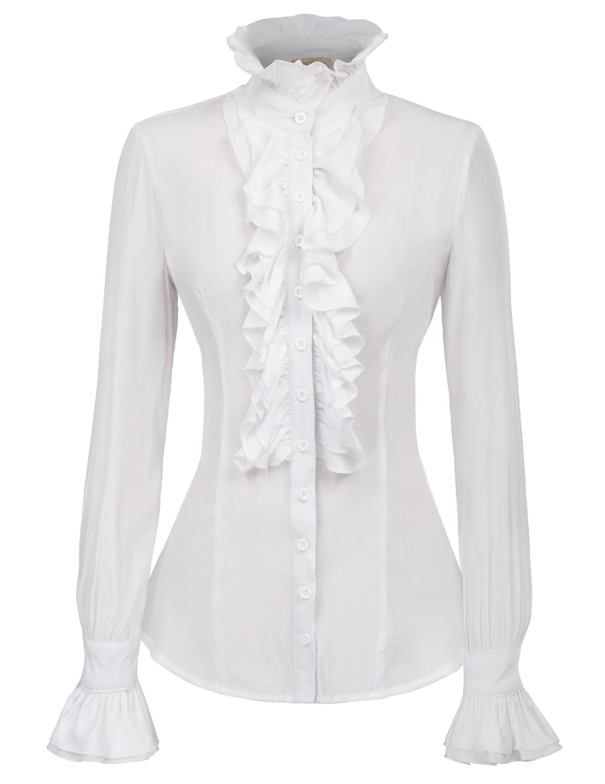 Autumn Winter   Blouse   White Vintage Retro Victorian Style Long Sleeve Ruffled   Blouse     Shirt   Tops Female