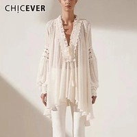 CHICEVER Summer Dot Print Ruffles Women Shirt V Neck Puff Sleeve Lace Up Bow Asymmetrical Female Blouse Fashion 2019 Spring New