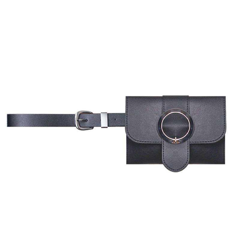 Women Round Buckle Leather Fanny Pack,Removable Round Buckle Belt With MINI Purse Travel Cell Phone Bag