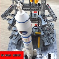 822pcs China Nine Number Space Flight Plastic Building Block Children Long March Two Assembling Toys 83001 Aviation Rocket Model